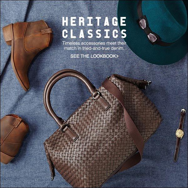 Timeless accessories meet their match in tried-and-true denim.  >>