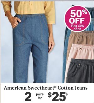 Cotton Jeans 2 pairs for $24.99