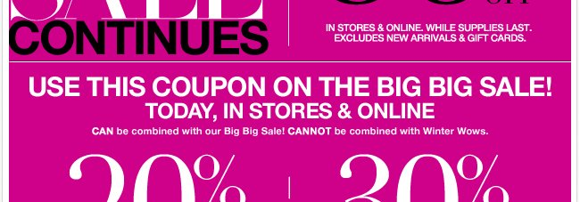 The Big Big Sale Continues - Up to 80% Off!