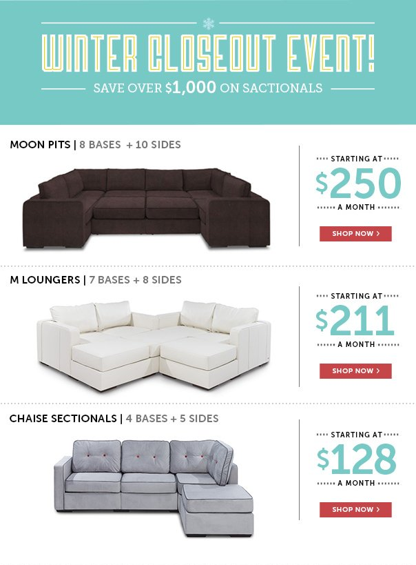 Winter Closeout Event - Save Over $1,000 on Sactionals!