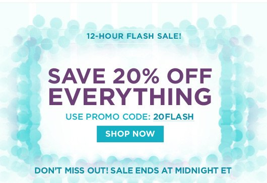 20% off with code 20FLASH at checkout