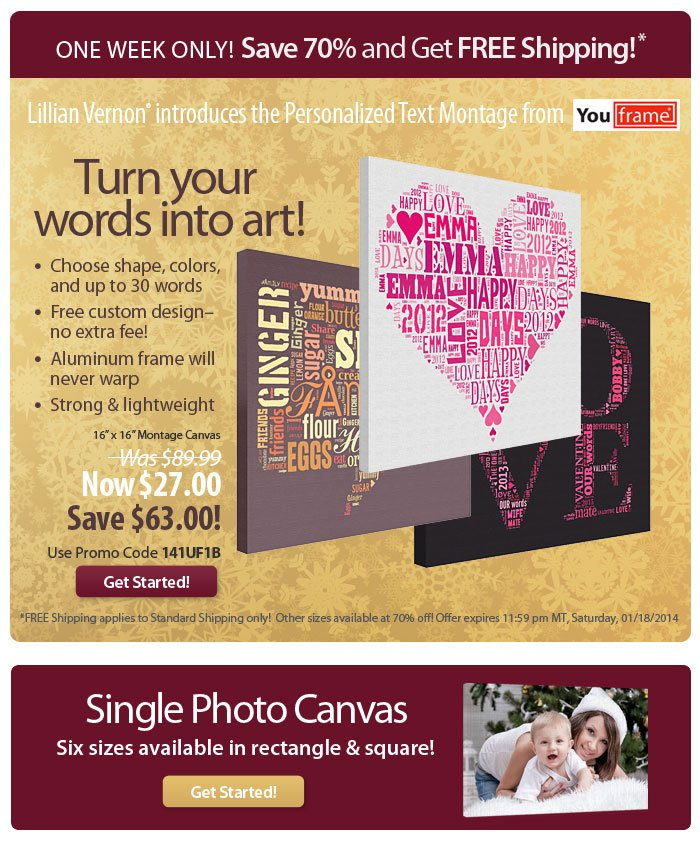 Turn your words into art - Save 70% on Personalized Text Montage!