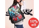 Guitar Printing Large Zipper 17 inch Backpack