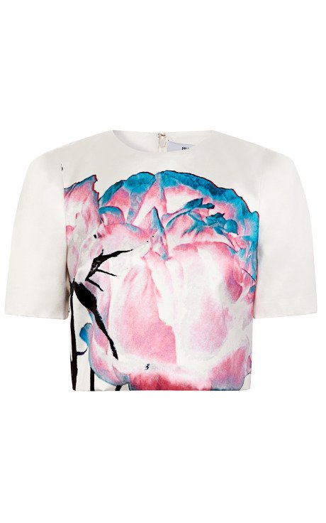 Painted Floral Cropped Blouse