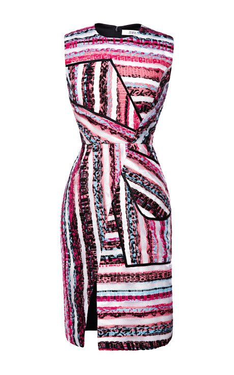 Striped Multicolor Tweed Sheath Dress