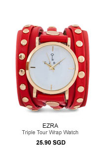 EZRA Studded Triple Tour Wrap Watch