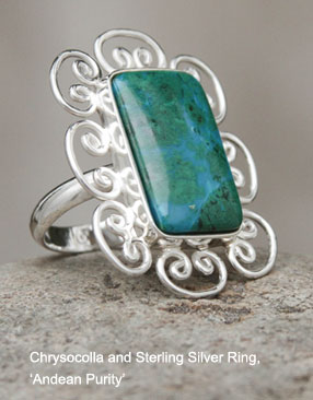 Chrysocolla and Sterling Silver Ring, 'Andean Purity'