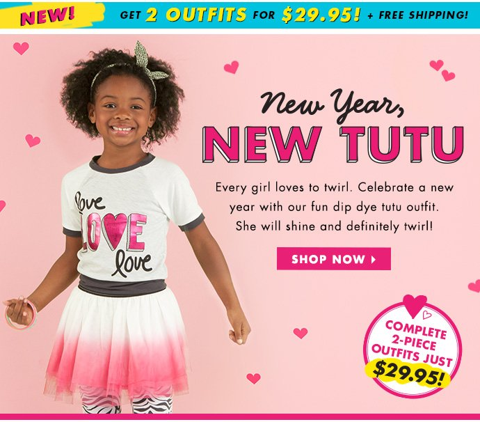 New Year, New Tutu! Buy 1 Outfit, Get 1 Free + Free Shipping!