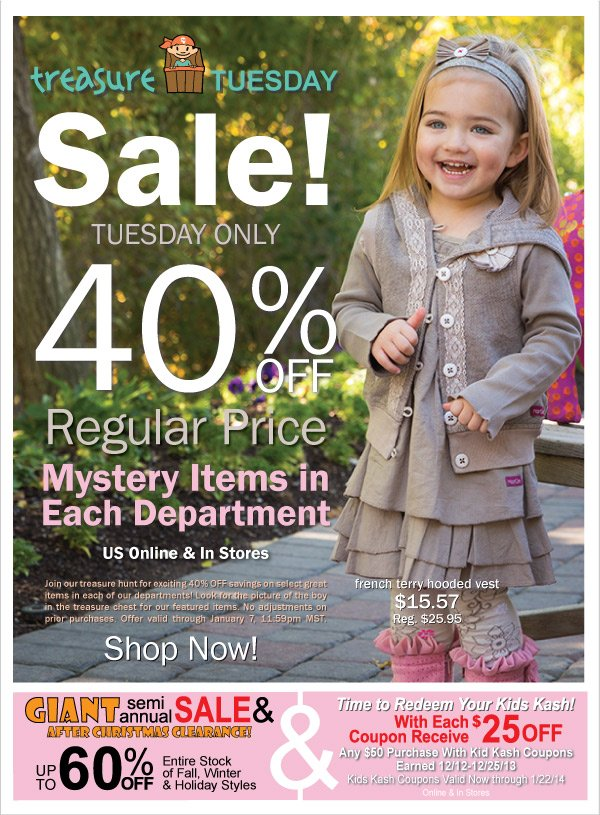 40%  Off Selected Transitions 2014 Styles! Treasure Tuesday-Today Only + Kids Kash  Redemption & Giant Semi-Annual Sale Up to 60% Off All Clearance Continues