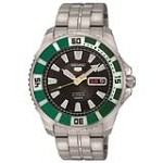 Seiko SRP205 Men's 5 Sports Black Dial Stainless Steel Bracelet Automatic Watch