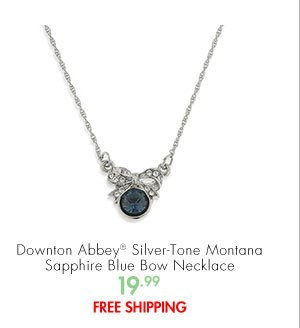 Downton Abbey® Silver tone Montana Sapphire Blue Bow Necklace 19.99 FREE SHIPPING