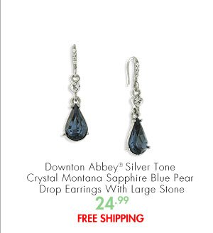 Downton Abbey® Silver Tone Crystal Montana Sapphire Blue Pear Drop Earrings With Large Stone 24.99 FREE SHIPPING