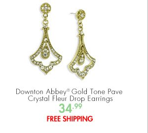 Downton Abbey® Gold Tone Pave Crystal Fleur Drop Earrings 34.99 FREE SHIPPING