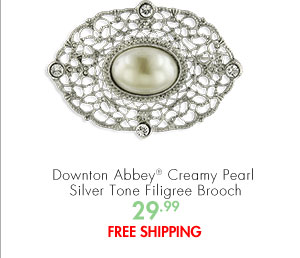 Downton Abbey® Creamy Pearl Silver Tone Filigree Brooch 29.99 FREE SHIPPING