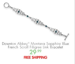 Downton Abbey® Montana Sapphire Blue French Scroll Filigree Link Bracelet 29.99 FREE SHIPPING