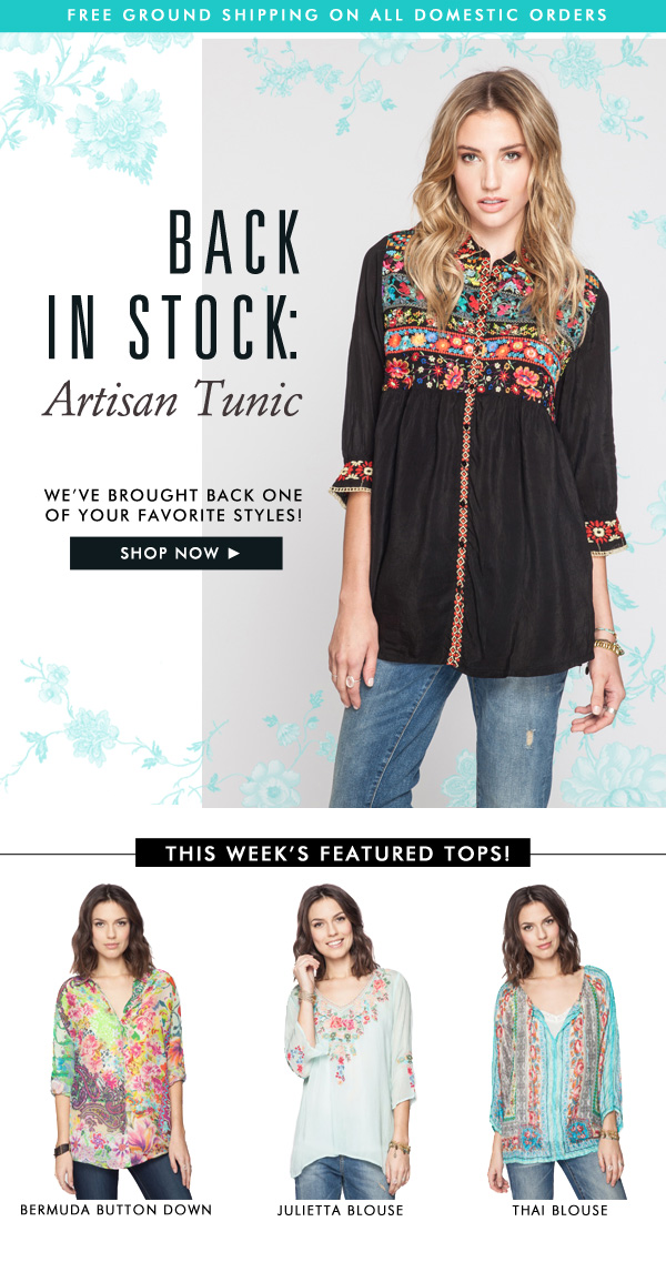 Back in stock! + This Week's Featured Tops