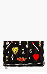 STELLA MCCARTNEY Black Jewel Embellished Foldover Clutch for women