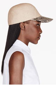 STELLA MCCARTNEY Beige straw & python skin Sahara hat for women