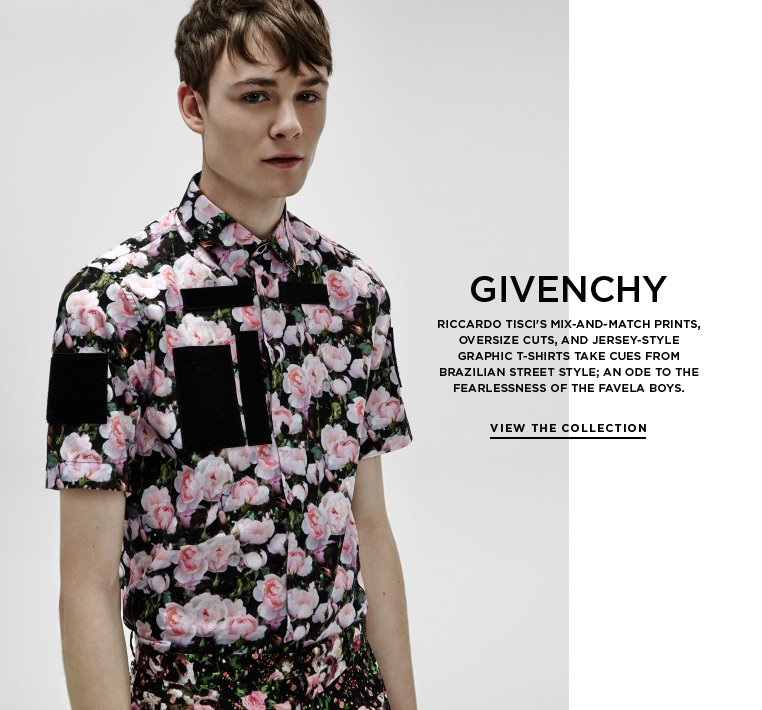 Favela street style from Givenchy Riccardo Tisci's mix-and-match prints, oversize cuts, and jersey-style graphic t-shirts take cues from Brazilian street style; an ode to the fearlessness of the Favela boys.