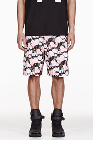 GIVENCHY Pink Rose Print Pleated Shorts for men