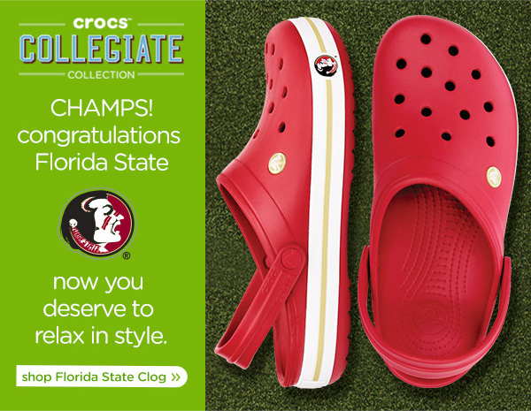 crocs Collegiate collection - Champs! congratulations Florida State - now your deserve to relax in style. - shop Florida State clog