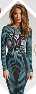 Long Sleeve Printed Bodycon Dress