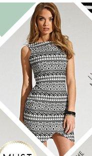 Aztec Asymmetric Hem Dress