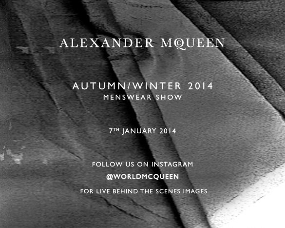 Follow us on Instagram, for live behind the scenes images from the men's AW14 show.