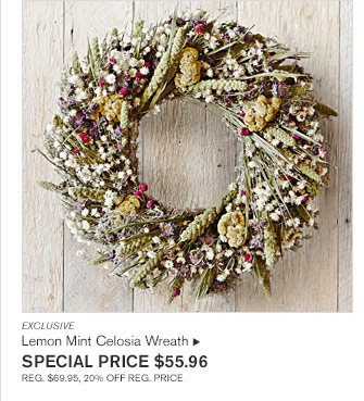 EXCLUSIVE - Lemon Mint Celosia Wreath  - SPECIAL PRICE $55.96 REG. $69.95, 20% OFF REG. PRICE