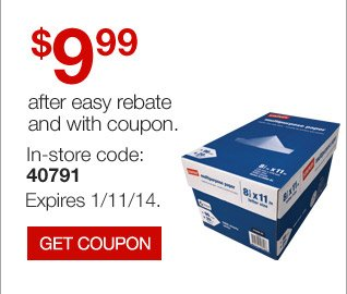 $9.99  Staples Multipurpose Paper, Case, after easy rebate and with coupon.  In-store code: 40791. Expires 1/11/14. Get coupon