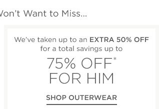Up to 75% off for him