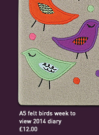 a5 felt birds week to view 2014 diary