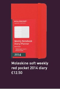 moleskine soft weekly red pocket 2014 diary