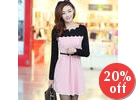 Scalloped-Trim Color-Block A-Line Dress
