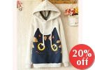 Cat-Print Hooded Pullover
