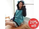 Color-Block Ear-Accent Hooded Pullover