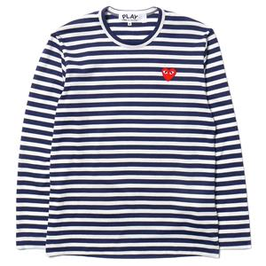 Comme des Garcons PLAY Cotton Jersey L/S Stripe Red Emblem Tee