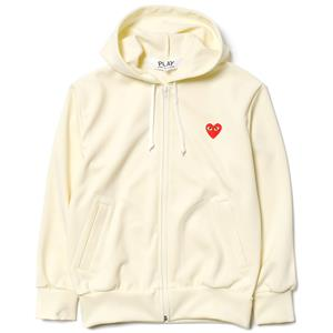 Comme des Garcons PLAY Ester Smooth Red Emblem Zip Hoodie Cream