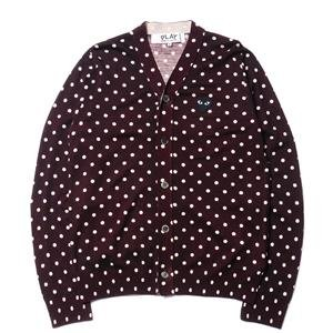 Comme des Garcons PLAY Top Dyed Carded Wool Polka Dot Lambswool Jersey Black Emblem Cardigan Burgundy