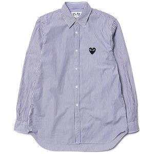 Comme des Garcons PLAY Cotton Broad Black Emblem Button Up Blue Stripe