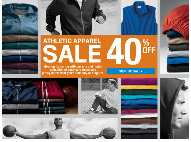 athletic apparel sale - 40 percent off - shop the sale