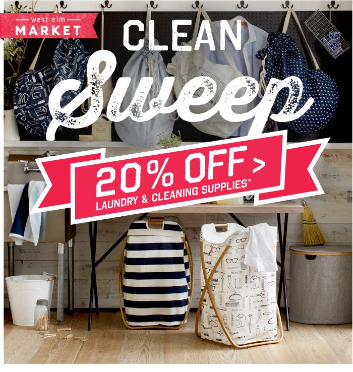 Clean Sweep. 20% Off Laundry & Cleaning Supplies*