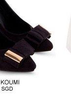 KOUMI KOUMI SADIE Faux Suede Heels with Bow