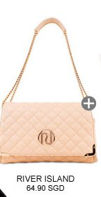 RIVER ISLAND CREAM QUILTED CHAIN STRAP BAG