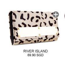 RIVER ISLAND BEIGE ANIMAL PONY SKIN METAL PLATE PURSE