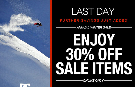 Enjoy 30% off sale items - online only. Today is the last day.