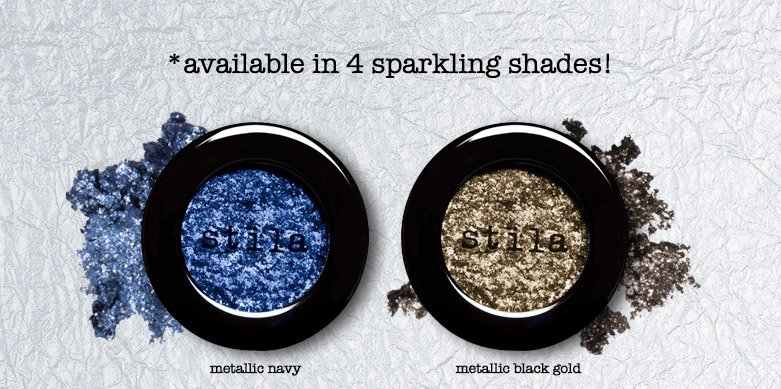 *available in 4 sparkling shades! metallic navy and metallic black gold