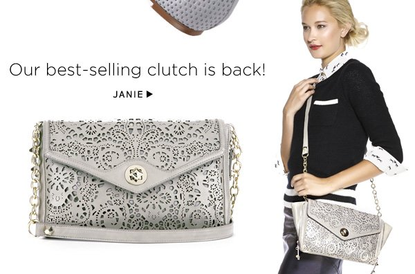 Our best-selling clutch is back. Shop Janie