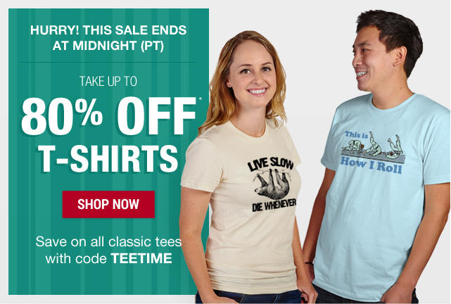 Up to 80% off your order with code TEETIME