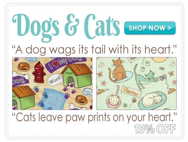15% Off all Dogs & Cats Cotton Prints